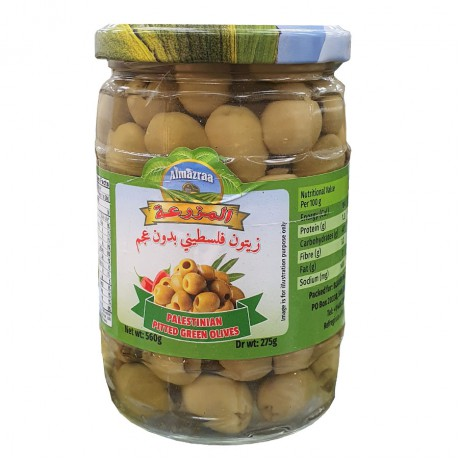 AL MAZRAA PITTED GREEN OLIVES 560GM